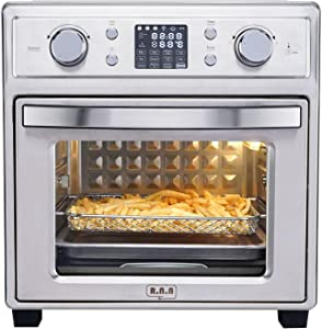 R.N.A 19QT Air Fryer Oven with 12 Cooking Presets, Convection Roaster with Rotisserie & Dehydrator, 1500W, LCD Display, 7 Accessories & Recipe Included, Stainless Steel (Bright Silver)