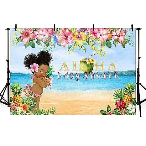 a251403a66b4 MEHOFOTO Aloha Girl Baby Shower Backdrop Summer Tropical Hawaiian Luau  Party Princess Baby Shower Beach Seaside