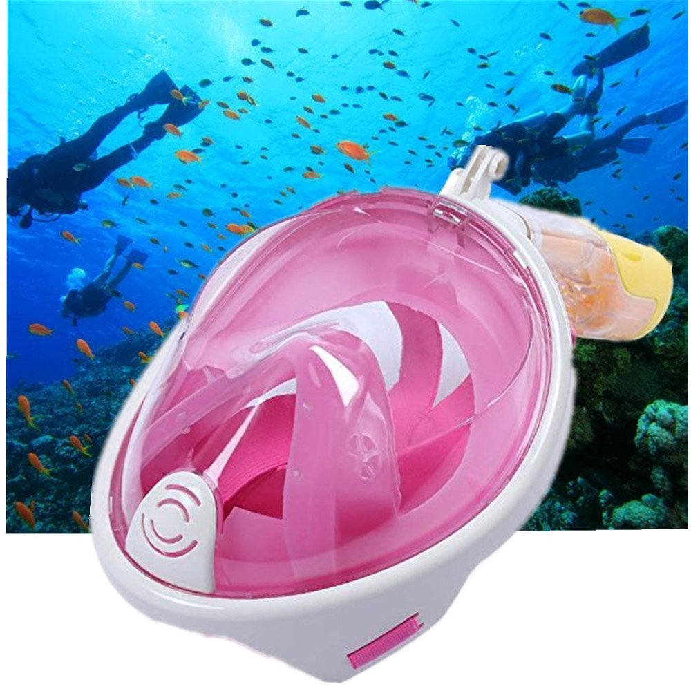 Full Face Diving Mask and Snorkel,MEILIIO Snorkel Mask Defogger and Anti-leak with 180º Degrees Viewing Area Easy Breath Foldable Adjustable Head Straps Diving Mask for Adults and Youth (S/M,Pink)