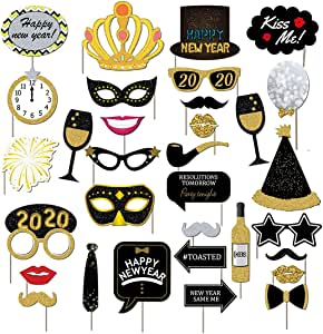 Nenluny 2020 Happy New Year's Eve Party Photo Booth Props ...