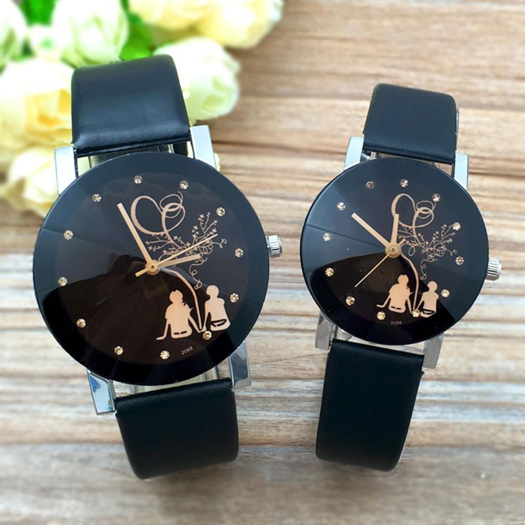 Relojes hombre mujer Reloj de pulsera de cuarzo de cristal de aguja de pareja de moda Relojes estudiantiles ❤ Amlaiworld (B - mujer): Amazon.es: Deportes ...