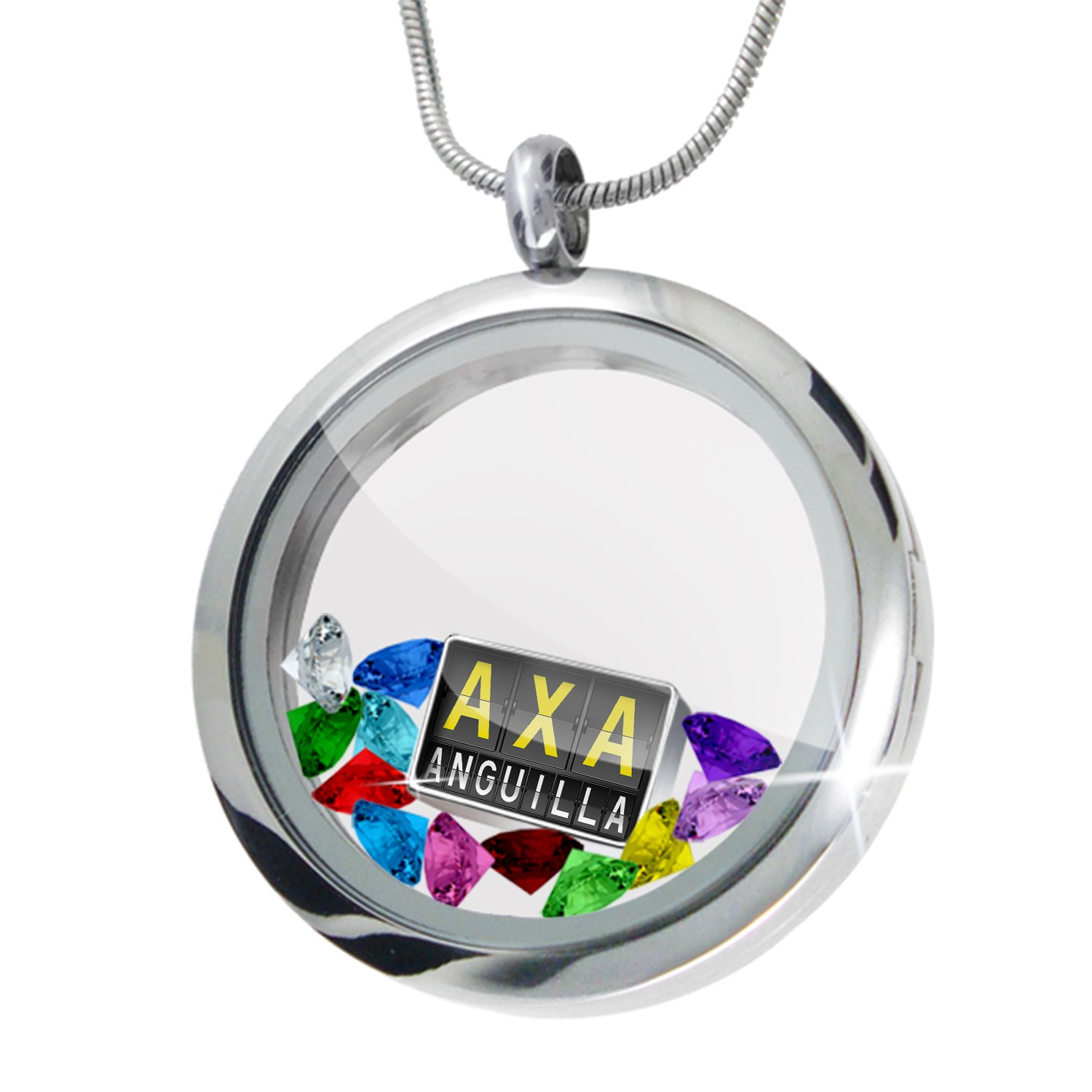 Floating Locket Set AXA Airport Code for Anguilla - NEONBLOND