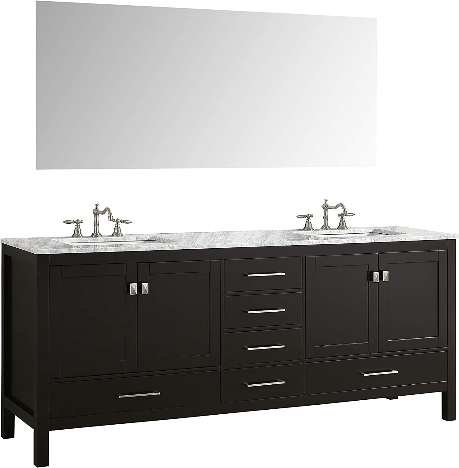 Amazon Com Eviva Aberdeen 84 Inch Espresso Transitional Double Sink Bathroom Vanity With White Carrara Marble Countertop And Undermount Porcelain Sinks Furniture Decor