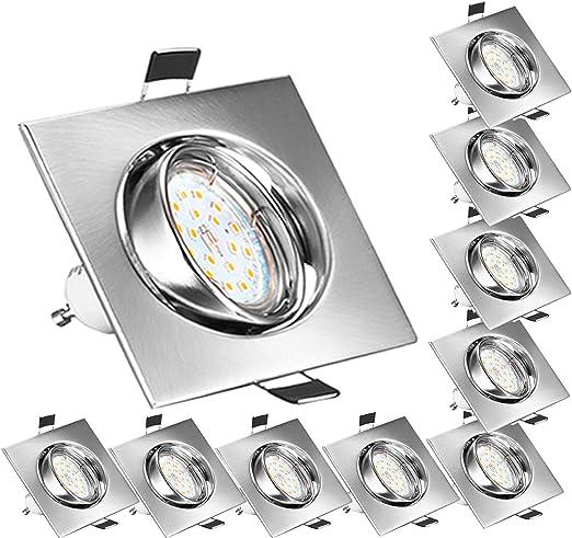 Oferta amazon: Bojim Foco Empotrable para el Techo Cuadrado 10x GU10 6W Blanco Natural 4500K LED Luz de Techo 600lm 82Ra AC 220V-240V Ángulo de Basculación del Ojo de Buey 30° y Ángulo de luz 120°IP20           [Clase de eficiencia energética A++]