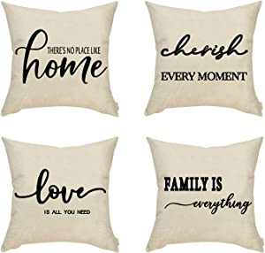 Fahrendom Set of 4 Farmhouse Décor There is No Place Like Home, Love is All You Need, Family is Everything, Cherish Every Moment Sign Decorative Throw Pillow Cover Cotton Linen Sofa Couch 18 x 18 in
