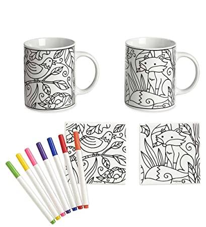 Amazoncom Color Pops Color Your Own Ceramic Mugs And Coasters Set