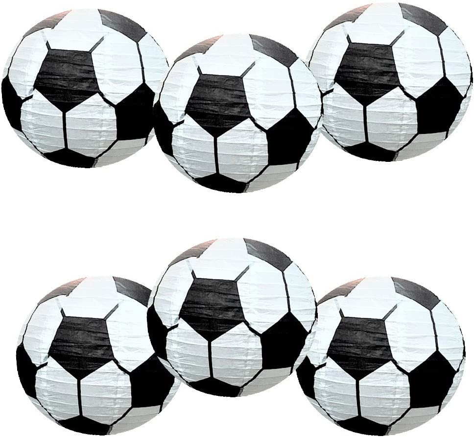 UNIQOOO 6PCS Soccer Ball Sports Paper Lantern Set 12''Large, Celling Hanging Japanese Lantern Decoration, For Home Bar Football Fan FIFA Europe Cup Birthday Game Day Party Favors Balloons Arch Garland