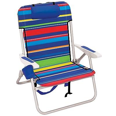"Rio Beach Big Boy Folding 13"" High Seat Backpack Beach Or Camping Chair, 35"" x 28"" x 24"", Pop Surf Stripes, Model:ASC537-1801-1 : Sports & Outdoors"