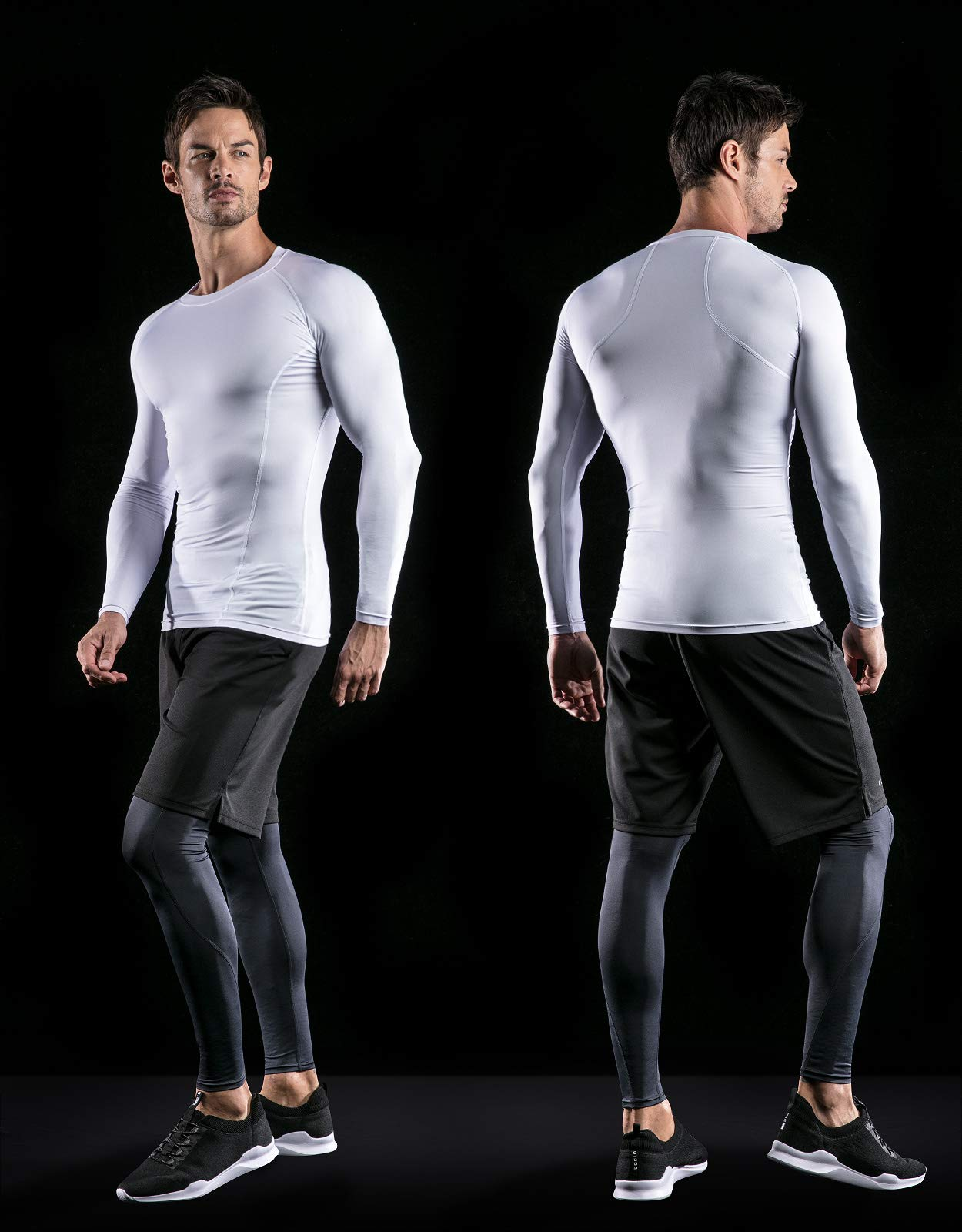ATHLIO AO-BLS01-WHT_Large Men's (Pack of 3) Cool Dry Compression Long Sleeve Baselayer Athletic Sports T-Shirts Tops BLS01 by ATHLIO (Image #6)