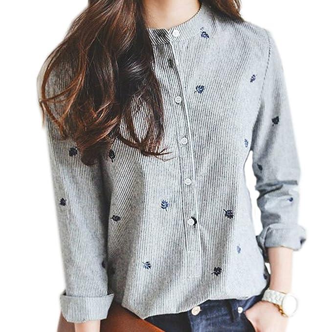 Camisa de manga larga para mujer- hibote Camisa de algodón para mujer de otoño elegante