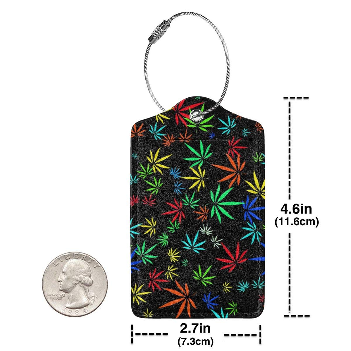 Marijuana Leaf American Flag Luggage Tag Label Travel Bag Label With Privacy Cover Luggage Tag Leather Personalized Suitcase Tag Travel Accessories