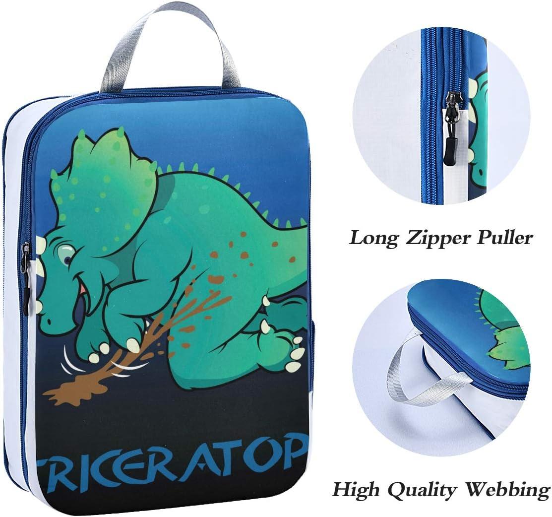 g Dinosaur Triceratops 3 Set Packing Cubes,2 Various Sizes Travel Luggage Packing Organizers