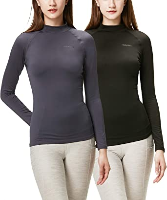 Women/'s Winter Warm Base Layer Fitness Gym Shirt Basic Thermal Long Sleeves Top
