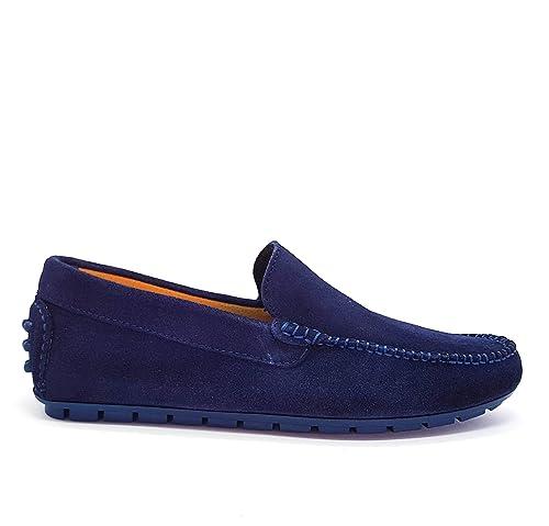 Zapato Mocasines para Hombre de Piel y Cuero con Plantilla de Gel. (45 EU