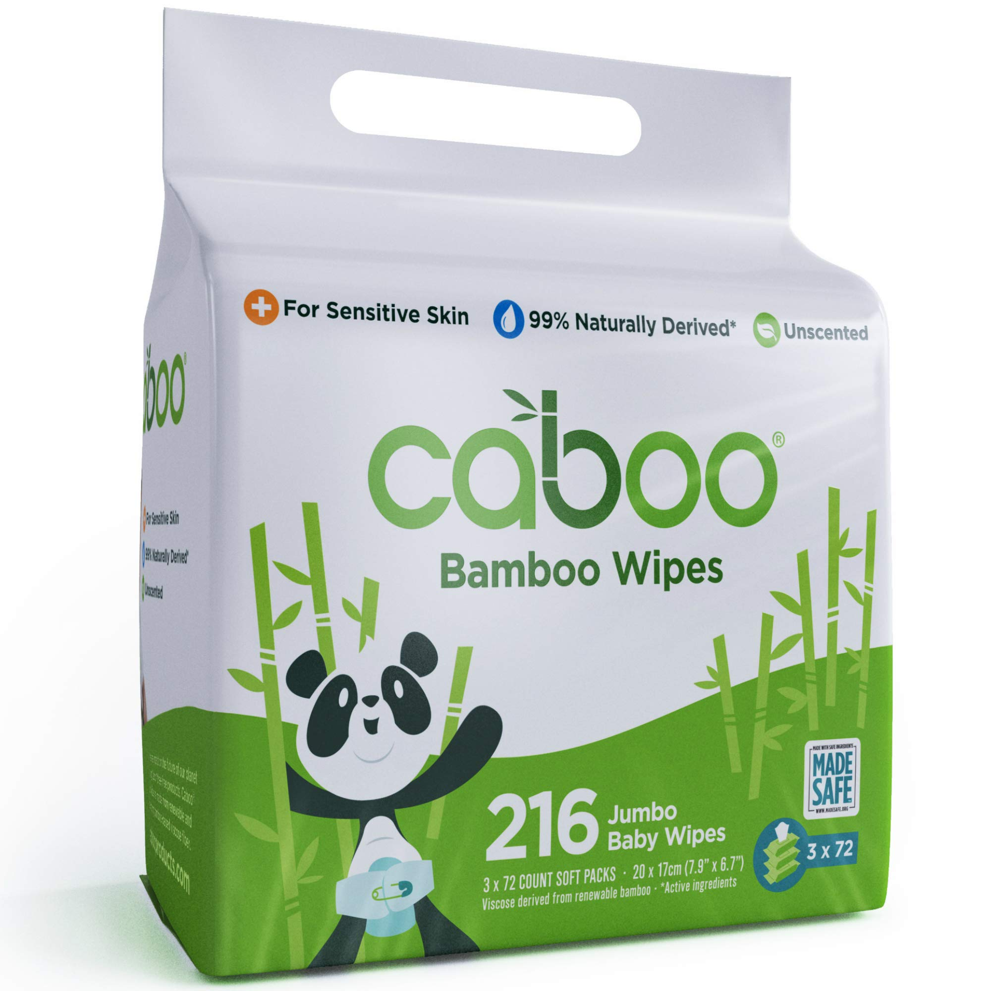Caboo Tree-Free Bamboo Baby Wipes, Eco-Friendly Naturally Derived Baby Wipes for Sensitive Skin, 3 Resealable Peel Tab Travel Packs, 72 Wipes Per Pack, Total of 216 Wipes by Caboo