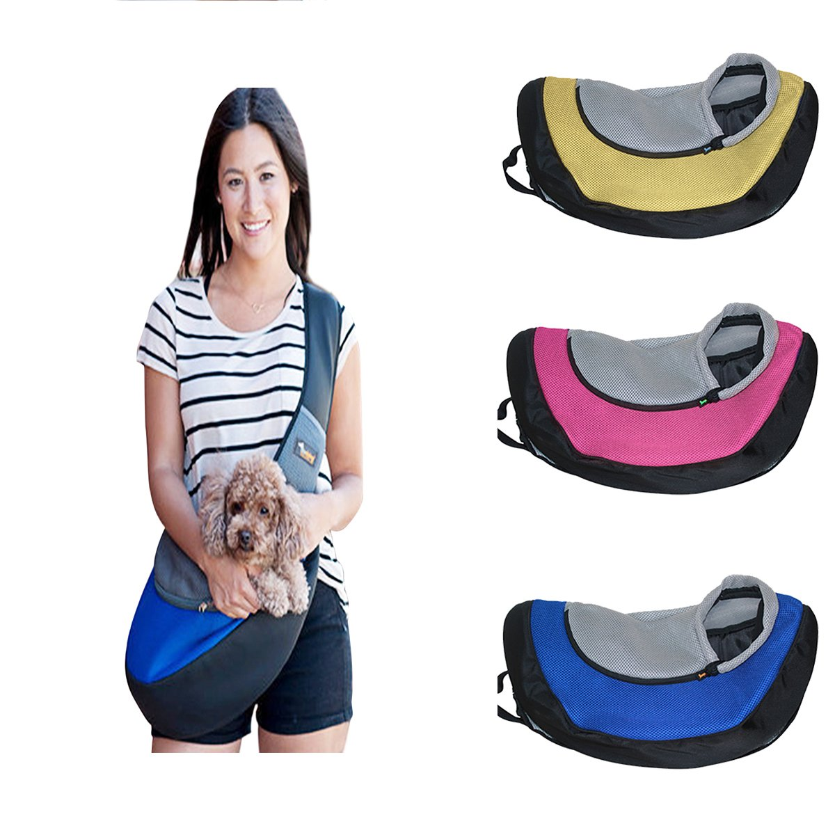 Ondoing Small Dog Cat Sling Carrier Bag Travel Tote Soft Comfortable Puppy Kitty Rabbit Shoulder Carry Tote Handbag, Blue