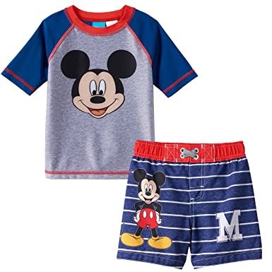 d9afa0b499d4f Amazon.com: Mickey Mouse and The Roadster Racers Toddler Boys Swim Trunks  and Rash Guard Set: Clothing