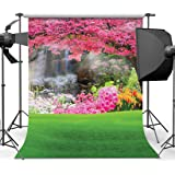 10x6.5ft Floral Background Pink and Red Flowers Field Photography Backdrop Studio Photo Props Nature Scenery Mural LYFU498