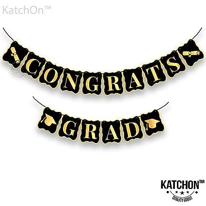 amazon com congrats grad banner black and gold no diy required