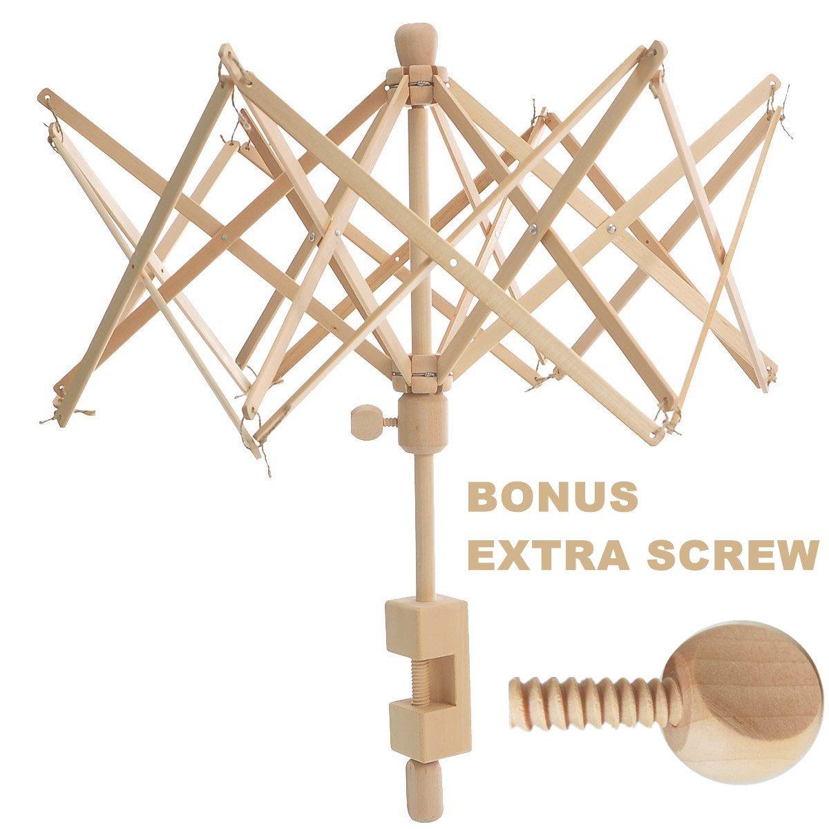 Wooden Umbrella Swift Yarn Winder Holder with Replacement Screw, Adjustable Yarn Swift,Medium