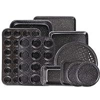The 10-Piece Nonstick Baking Set With Baking Pan, Cookie Sheet Set, Cake Pan, Muffin Pan, and Pizza Pan, 10-Piece Set Nonstick Bakeware Sets, Ceramic Coated Black (Ceramic Coated Black)