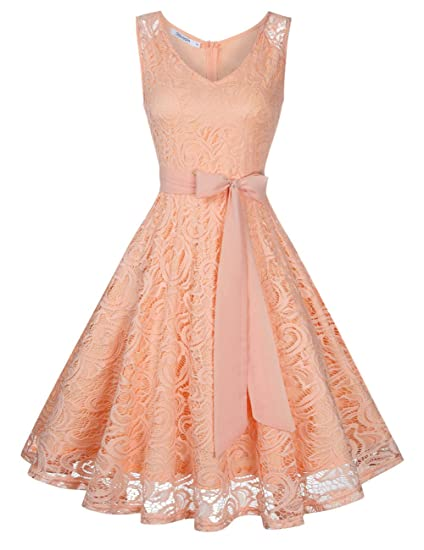 KOJOOIN Women Vintage Bridesmaid Dress Lace Dress Wedding Evening Cocktail Prom Dresses Rose Gold XS
