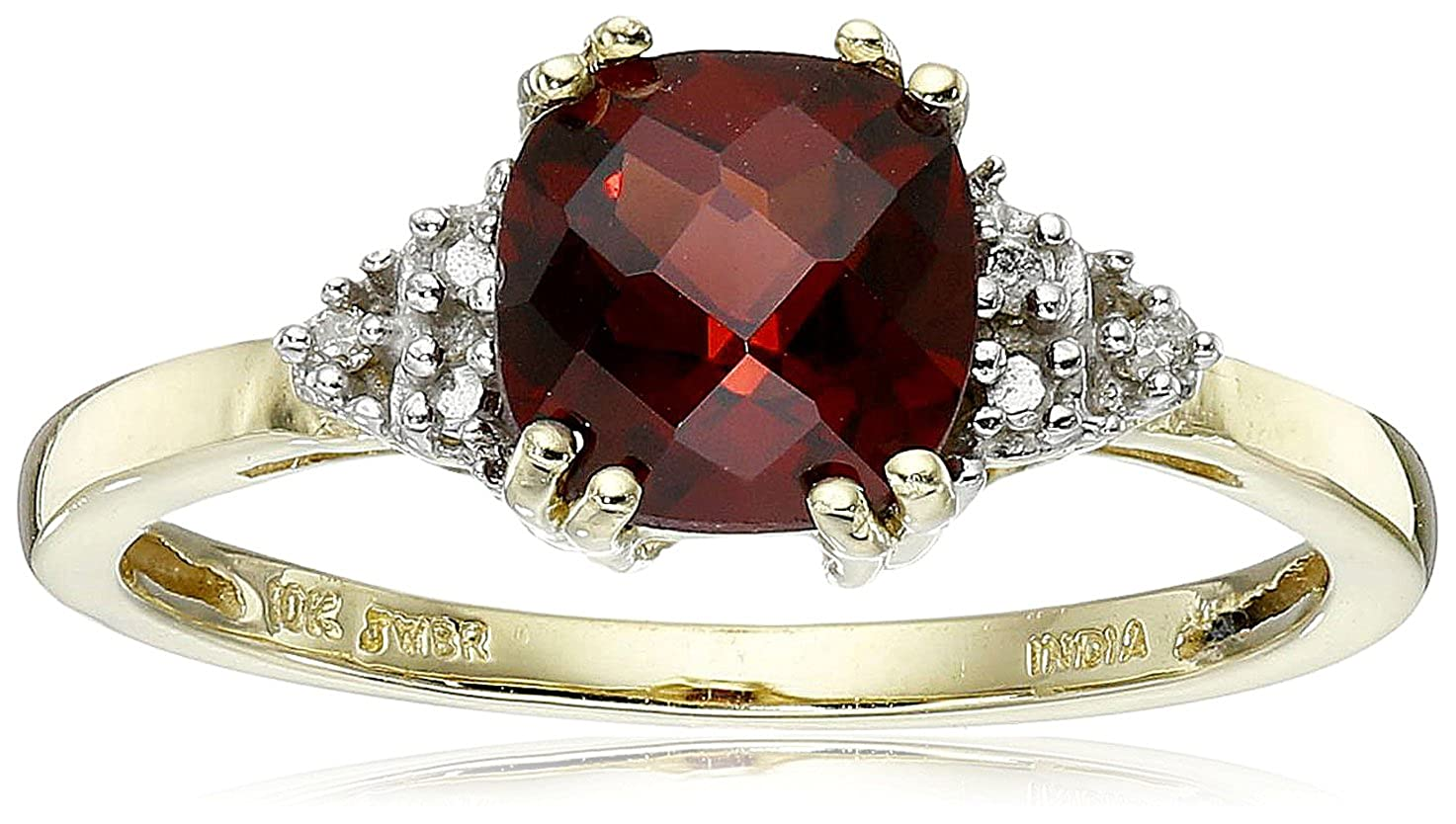 10k Yellow Gold, January BirthStone, Garnet and Diamond Ring, Size 7 RF 26514GA-Size7