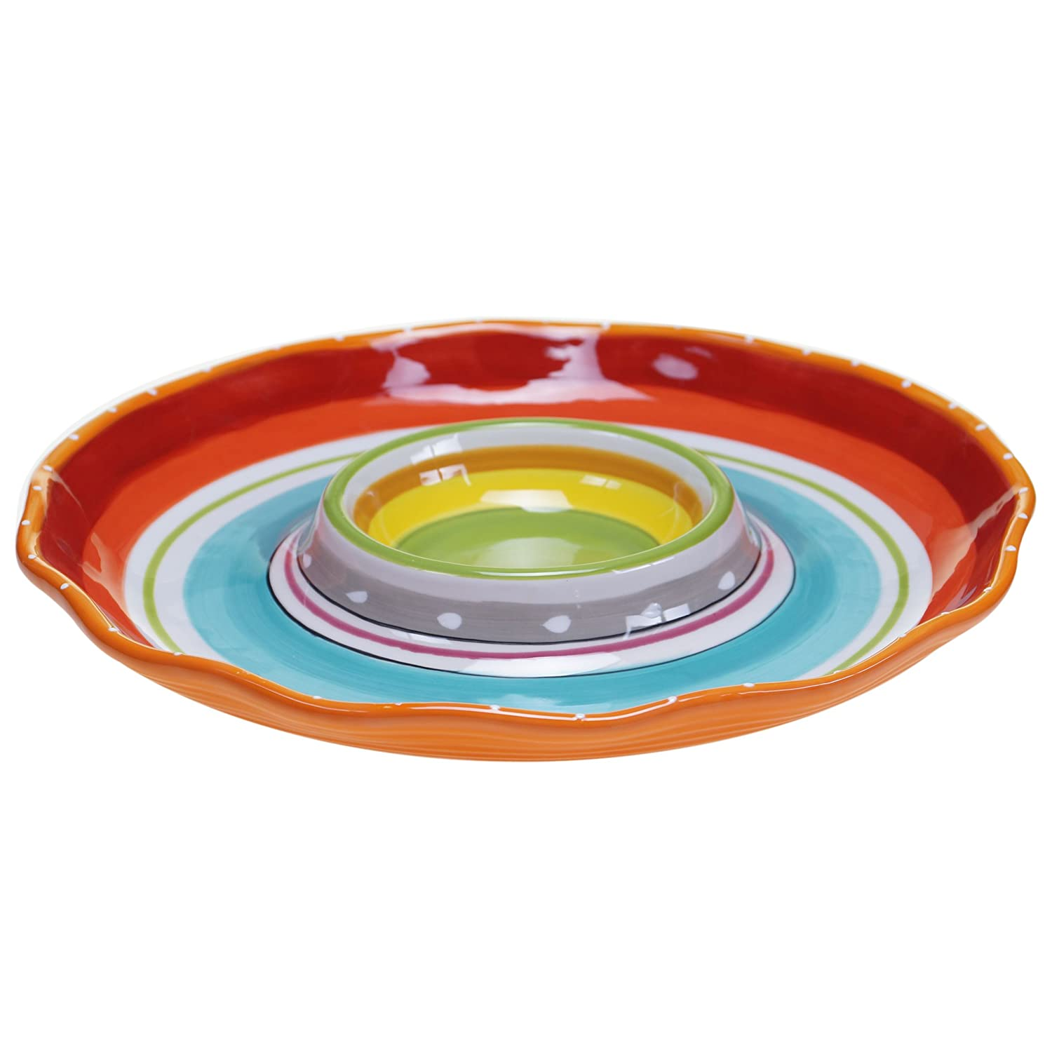 Certified International 25638 Mariachi Chip and Dip Serving Set, 13.5-Inch, Multicolor