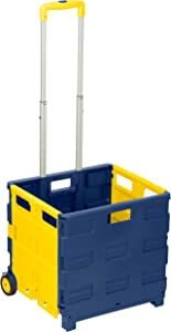 Honey-Can-Do TBL-02869 Rolling, Folding Carry-All Crate, Blue/Yellow