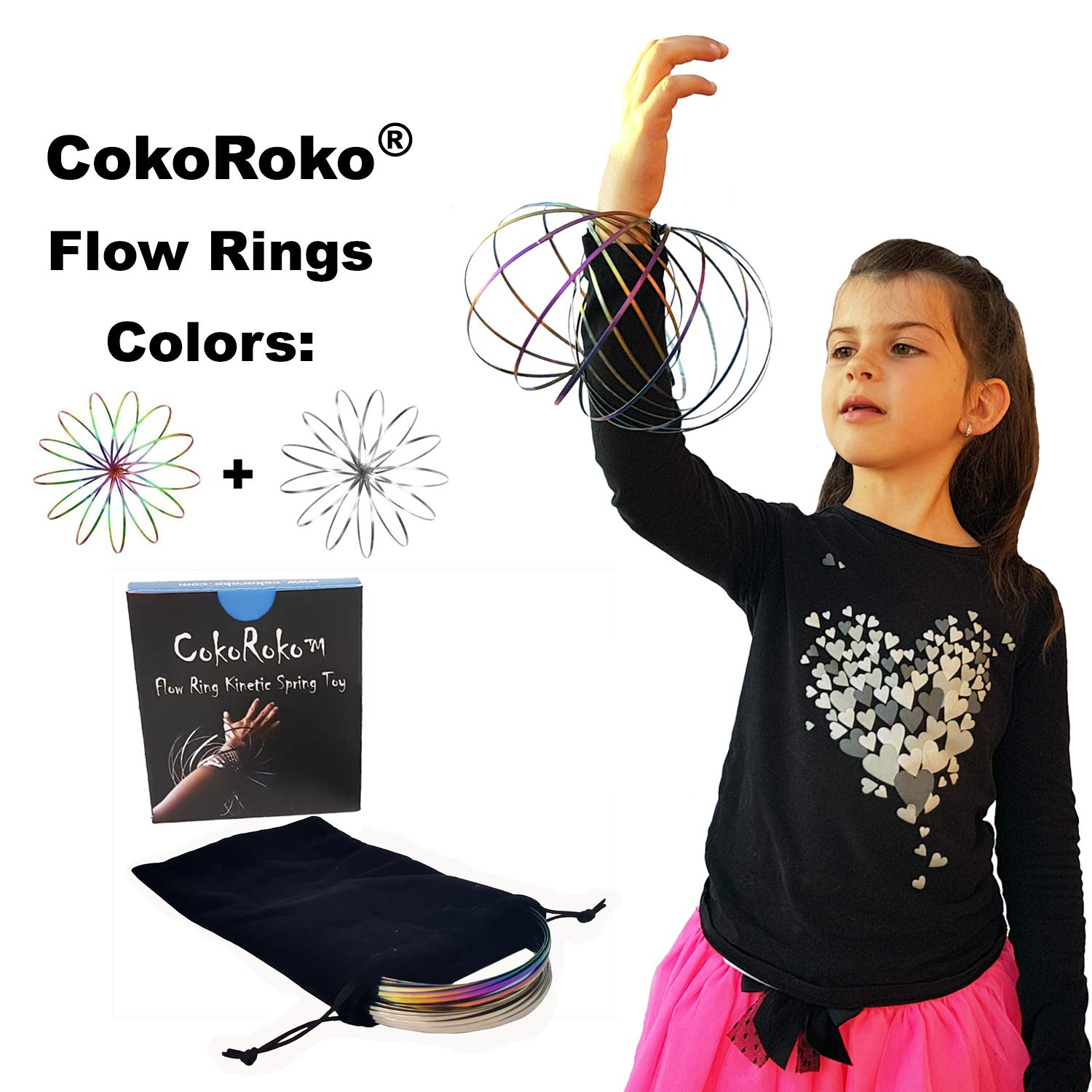 CokoRoko Flow Ring 3D Kinetic Spring Toy Sculpture Ring Game Toy Kids Adults. Magic Ring Perfect Outdoor Games Funny Beach Toys (Silver&Hologpahic)