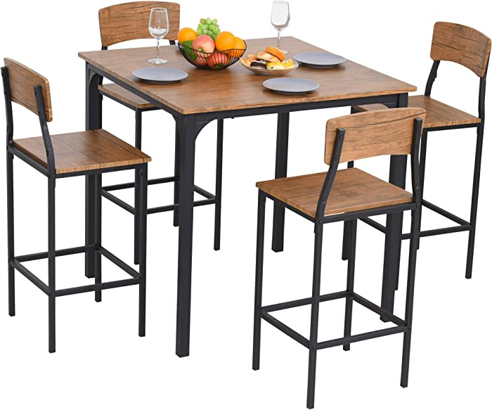 HOMCOM 5 Piece Modern Counter Height Dining Set Compact Kitchen Table 4 Chairs Set with Footrest,Metal Legs