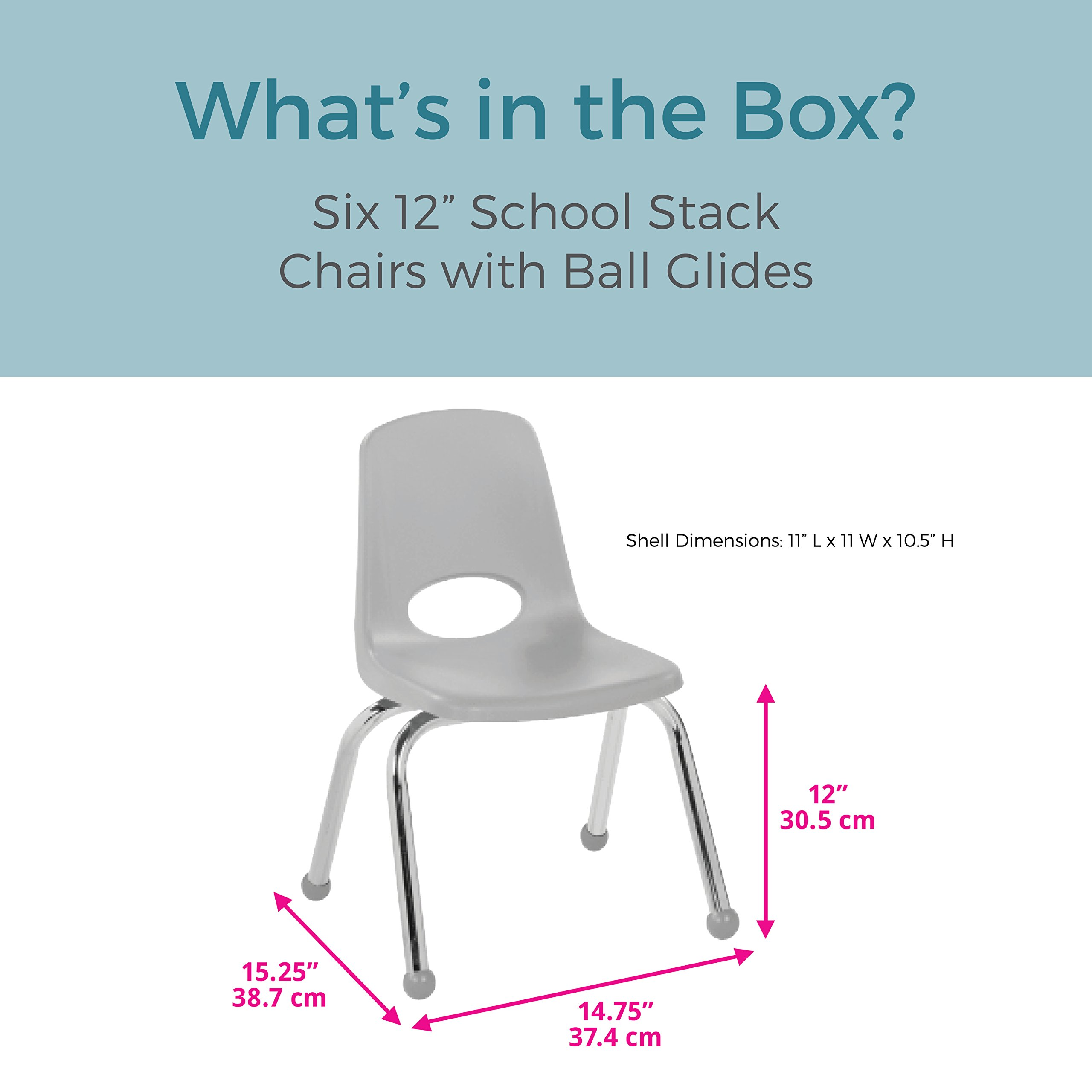 ECR4Kids 12'' School Stack Chair, Chrome Legs with Ball Glides, Blue (6-Pack) by ECR4Kids (Image #2)