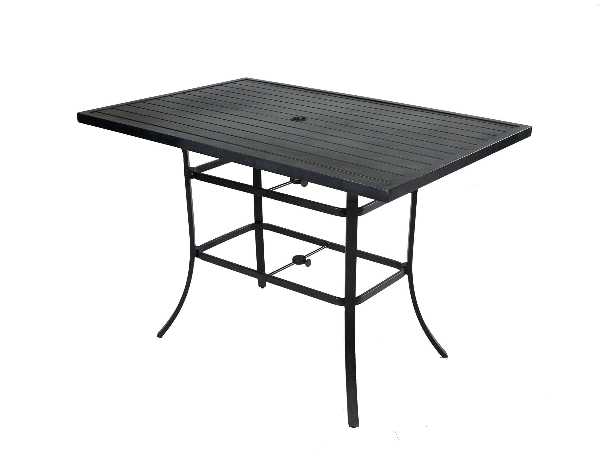 Pebble Lane Living All Weather Rust Proof Indoor/Outdoor Slat Top Rectangular Patio Bar Dining Table with 2'' Umbrella Hole, Powder Coated Aluminum, Black, 60'' L x 40'' W x 41'' H, Seats Up to 6