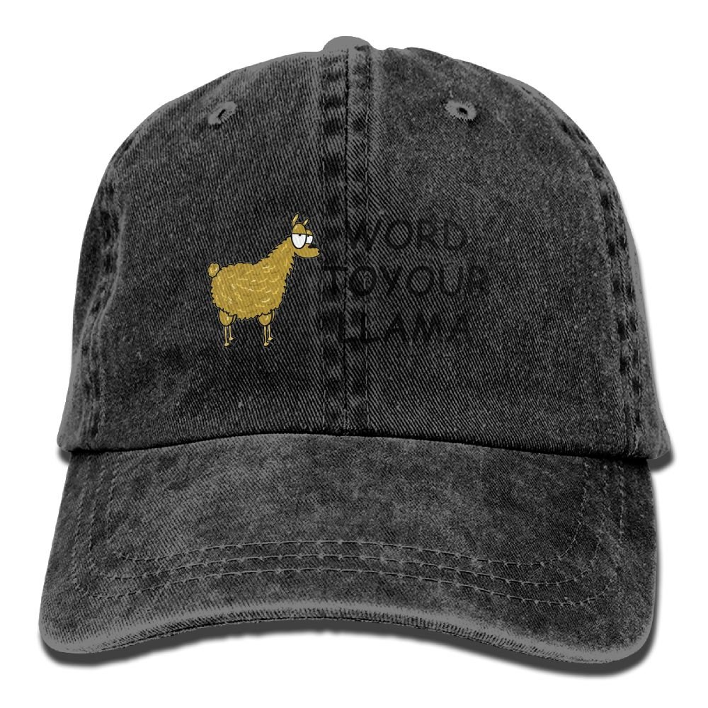 JTCY Word To Your Llama Plain Washed Dad Solid Cotton Polo Style Baseball Cap Hat Natural