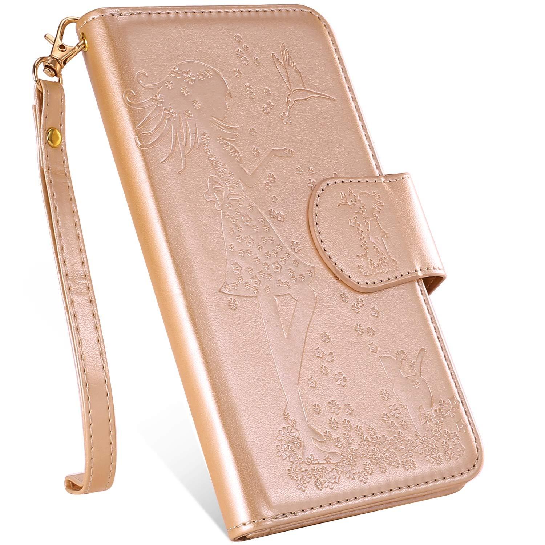 Uposao Samsung Galaxy S10 Coque en Cuir Pochette Portefeuille, 9 Fentes de Carte Multi-Usage Housse Fille Fleur 3D Motif Coque Etui /à Rabat Magn/étique Folio Flip Case Cover Wallet,Dor