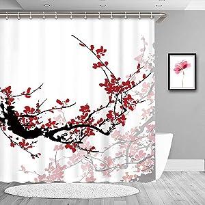 "LIVILAN Plum Blossom Shower Curtains Set with 12 Hooks, Floral Fabric Shower Curtain for Bathroom Decor, Machine Washable, 72"" x 84"""