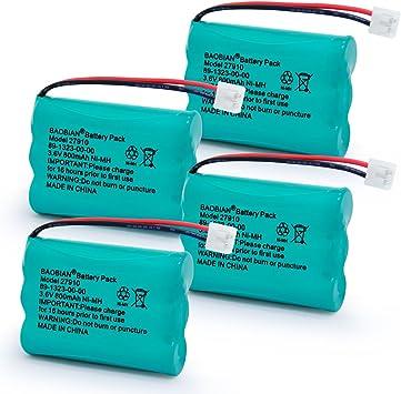 4-Pack 27910 Batería de Teléfono Inalámbrico Recargable para V-Tech 89-1323-00-00 Vtech 27910 I6725 Motorola SD-7501 RadioShack 23-959 BAOBIAN: Amazon.es: Electrónica