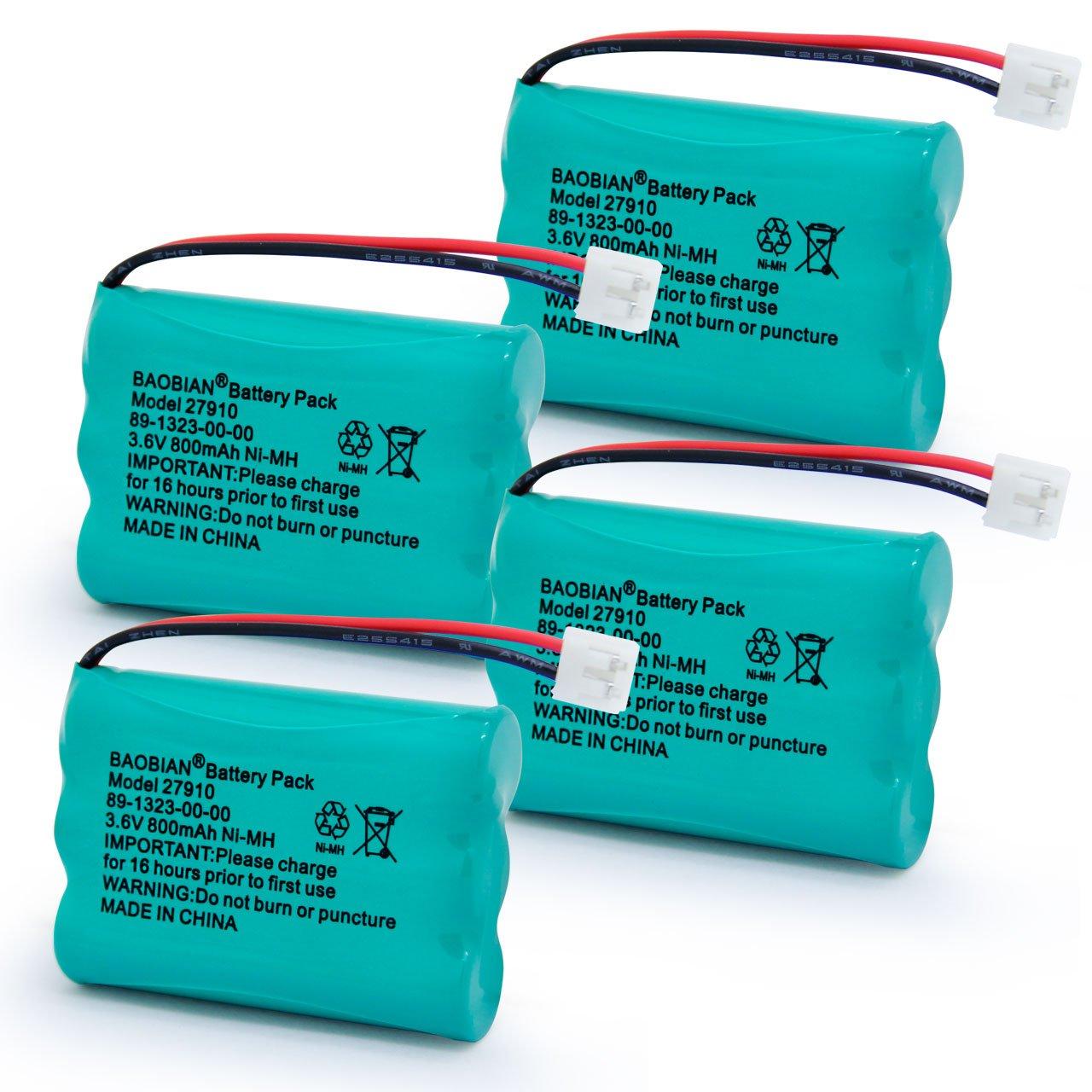 BAOBIAN 27910 Rechargeable Cordless Phone Battery Compatible V-Tech 89-1323-00-00 Vtech 27910 I6725 Motorola SD-7501 RadioShack 23-959(2 Pack) BB0227910