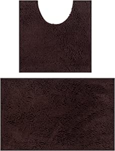 Bathroom Rugs Chenille Bath Mat Set, Soft Plush Non-Skid Shower Rug +Toilet Mat. (Brown)