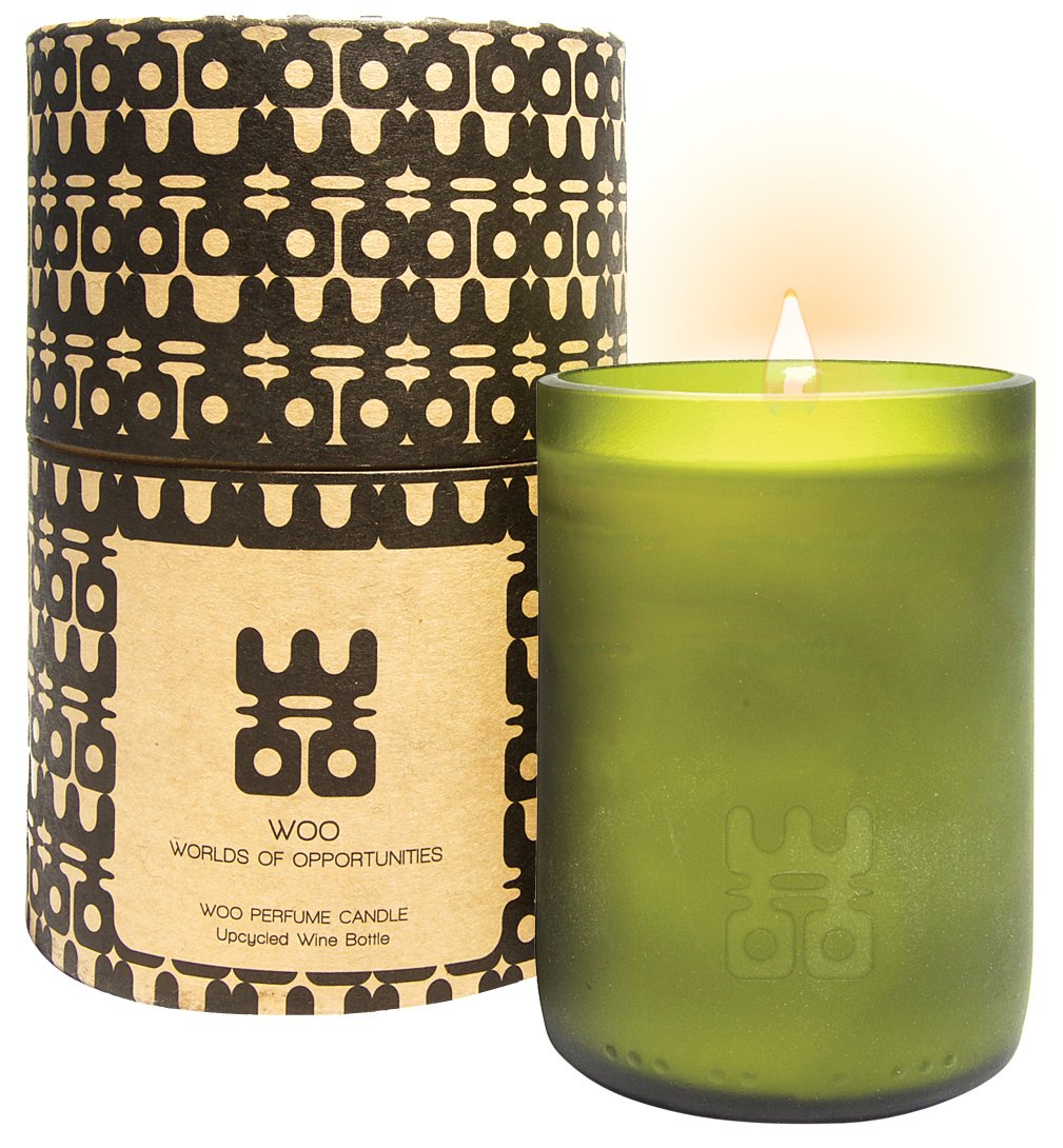 WOO Lucky Candle Collection | Handmade Extra Large Eco Beeswax Aromatherapy Candle in Box | Stress Relieving Tranquility Fragrance | Honeysuckle, Cardamon & a hint Citrus | 90h Burn WOO - Worlds Of Opportunities