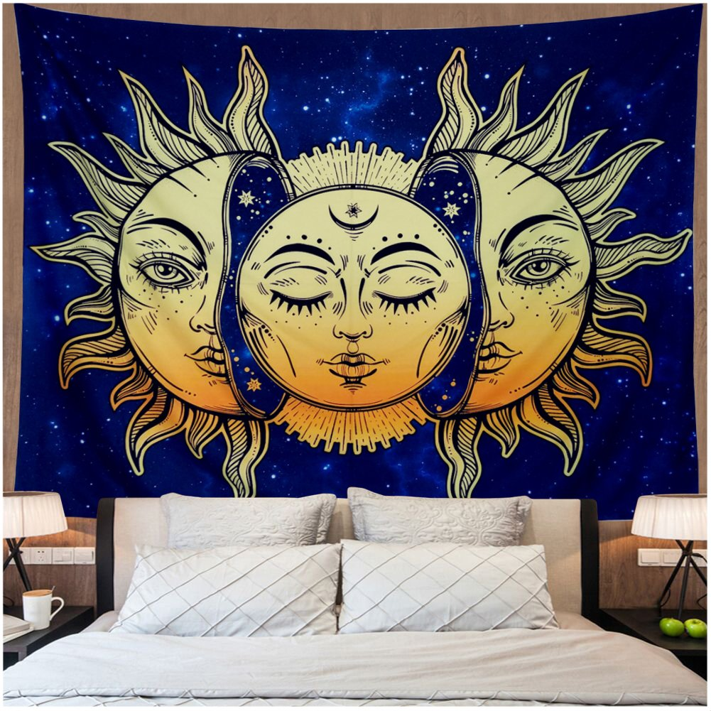 Amonercvita Psychedelic Tapestry Moon and Sun Tapestry Wall Hanging India Hippie Hippy Bohemian Tapestries Starry Sky Wall Tapestry Fractal Faces Mystic Tapestry for Bedroom Living Room Dorm by Amonercvita (Image #1)