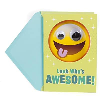 Hallmark Birthday Greeting Card For Kids Emoji Googly Eyes