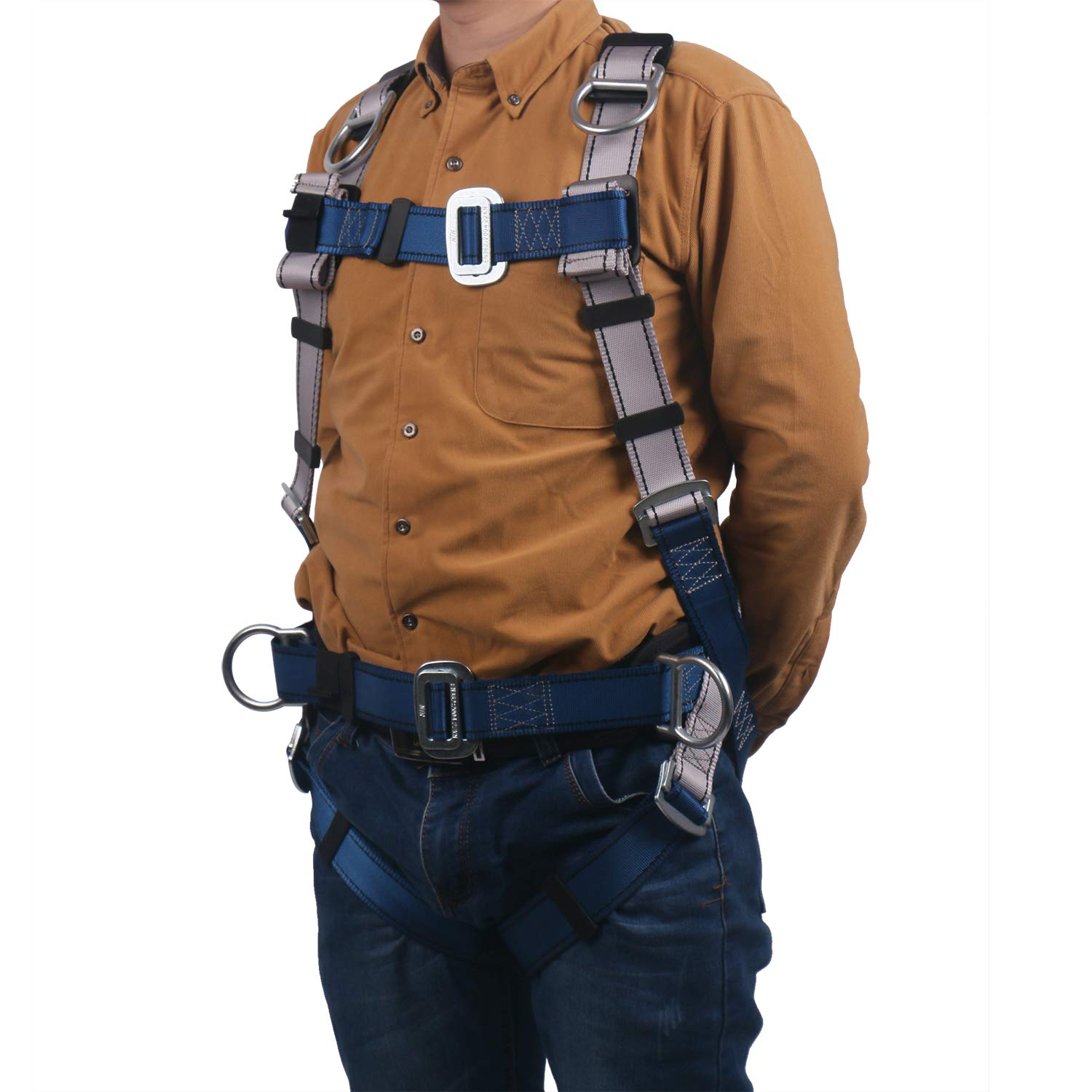 JINGYAT Full Body Safety Harness Fall Protection with 5 D-Ring,Universal Personal Protective Equipment (130-310 pound),Construction Industrial Tower Roofing Tool by JINGYAT (Image #6)