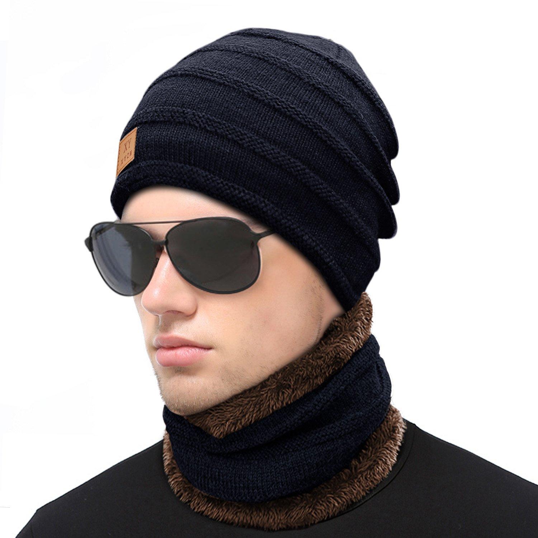 Wintermütze, HiKeep Strickmütze und Schal Set Warm Weich Beanie für Damen und Herren mit Fleecefutter-Blau Wintermütze