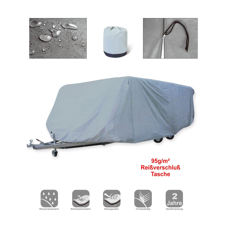 [pro.tec]® Funda protectora para caravana, remolque y autocaravana - 426x225x220 cm lona transpirable - resistente al agua y a rayos UVA - gris
