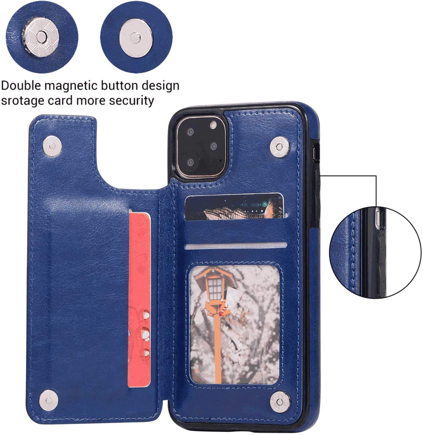 iPhone 11 Pro Max Flip Case Cover for Leather Card Holders Extra-ShockProof Business cell phone case Kickstand Flip Cover