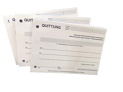 20x Block Quittung Quittungsblock Für Kleinunternehmer 19 2 X