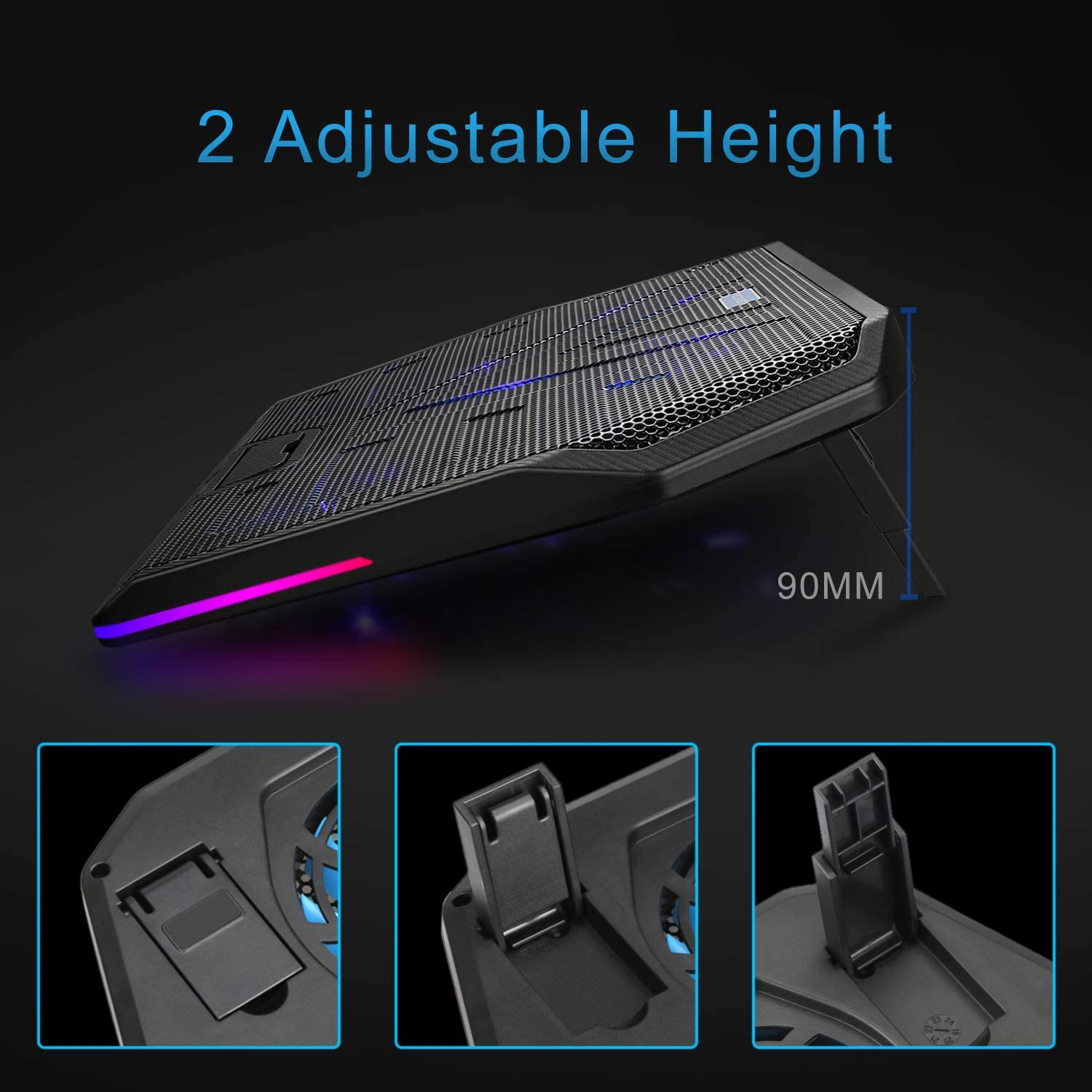 TECKNET RGB Laptop Cooling Pad 12-19 Inch Laptop Cooling Pad Laptop Cooler Stand Cooling Pad Cooling Pad with 2 USB Ports 5 Fans and RGB Backlight