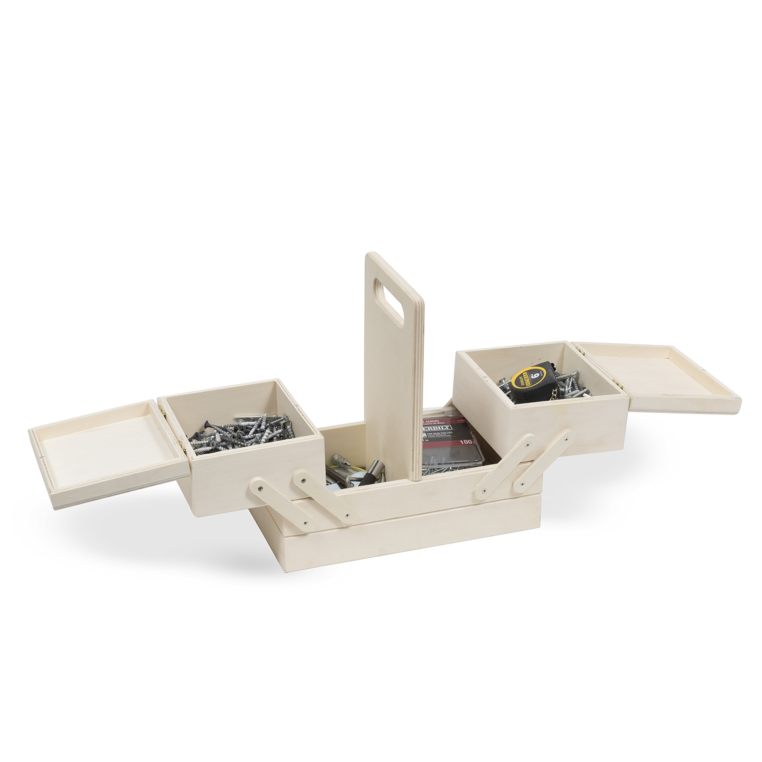 Unfinished Wood Hardware Supply Box Organizational to Store Your Nuts, Bolts, Screws and Anchors in Natural