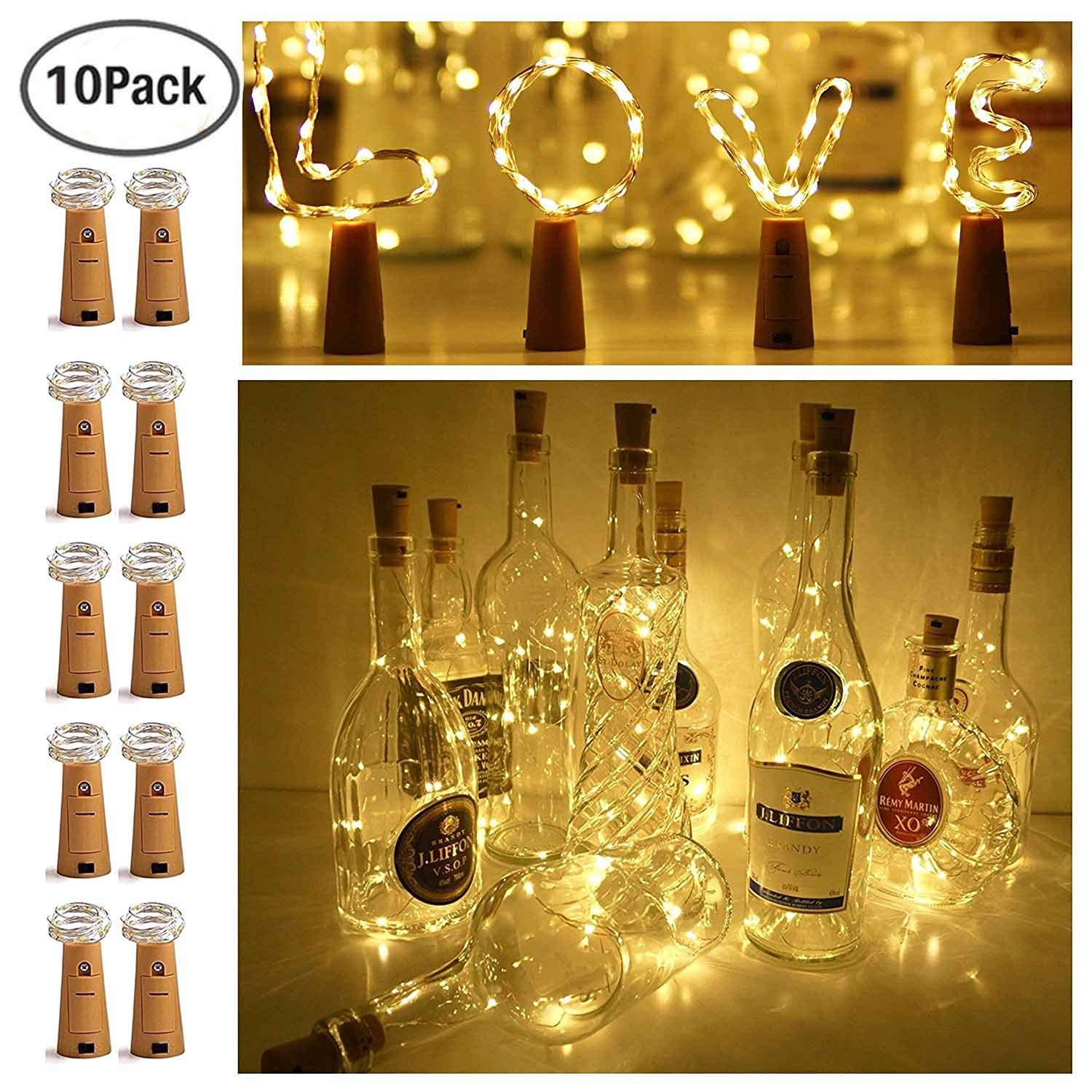 10LED Bottle Cork String Lights Wine Bottle Fairy Mini Copper Wire, Battery Operated Starry Lights for DIY Christmas Halloween Wedding Party Indoor Outdoor Decoration, 6 Pack (Mulit-Color) Ninight